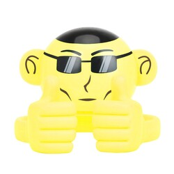 Promate Ape Bluetooth Speaker, Portable Monkey Shape Multifunction Wireless with 3.5mm Audio Jack and Thumbs-up Adjustable Flexible Smartphone Holder, Yellow